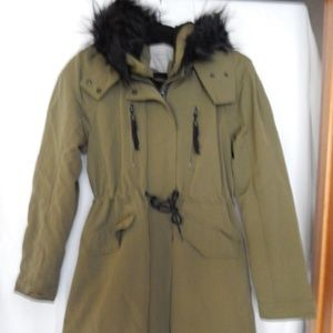Zara Basic, Military Green Hooded Jacket